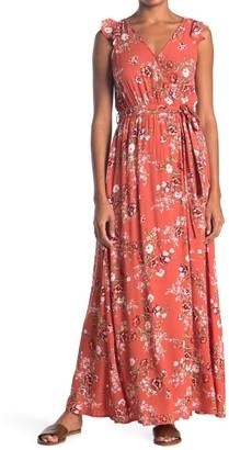 Hyfve Surplice Neck Floral Print Maxi Dress