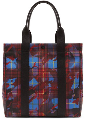 Mulberry City Tote Blue, Red and Yellow Camo Check ECONYL