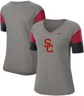 Nike Women's Heathered Gray/Cardinal USC Trojans Breathe Team Sleeve Performance V-Neck T-Shirt