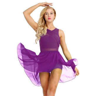 dPois Womens Chiffon Lyrical Ballet Dance Flowy Dress Gymnastics Leotard High-Low Skirt Ballroom Green Large