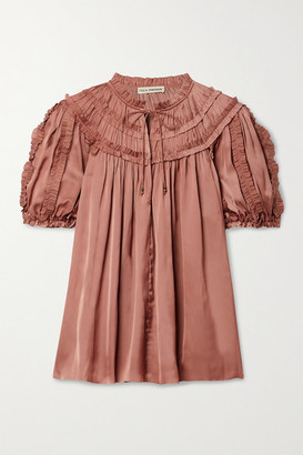 Ulla Johnson Aimee Ruffled Satin Blouse - Antique rose