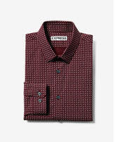 Express extra slim fit patterned long sleeve dress shirt