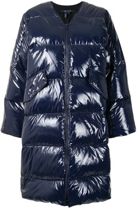 Sofie D'hoore high-shine quilted V-neck coat