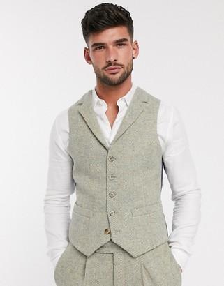 ASOS DESIGN slim suit suit vest in 100% wool Harris Tweed in stone herringbone