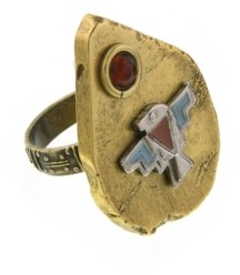 T.r.u. by 1928 Thunderbird On Brass Tone Arrowhead Accented with Amber Color Stone Ring