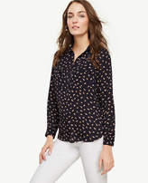 Ann Taylor Petite Abstract Feather Camp Popover