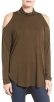 Bobeau Women's Cold Shoulder Mock Neck Top