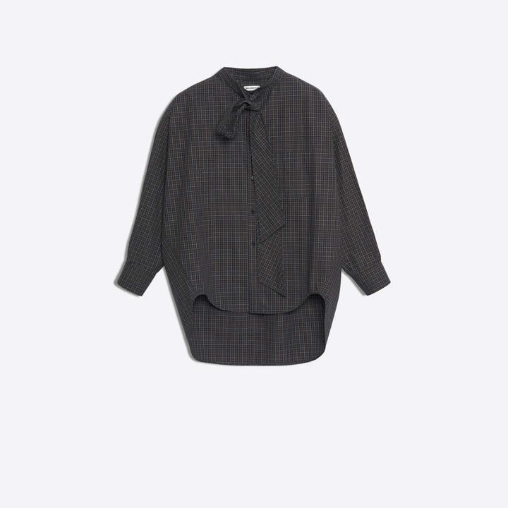 Balenciaga Scarf collar swing shirt with printed logo at back