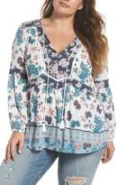 Daniel Rainn Mix Print Peasant Top