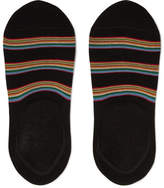 Paul Smith Striped Stretch Cotton-blend No-show Socks - Black