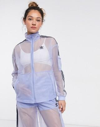 adidas mesh logo track jacket in blue