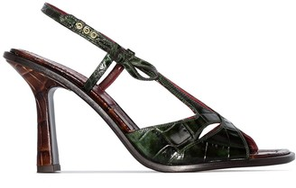 Sies Marjan Diana 90mm crocodile-effect leather sandals