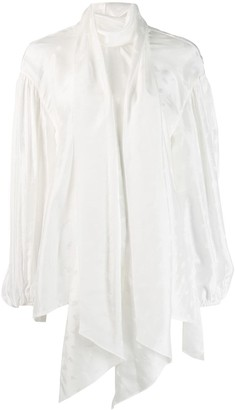 Chloé Billowing Bow-Neck Blouse