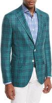 Isaia Sanita Glen Plaid Two-Button Sport Coat, Green/Navy