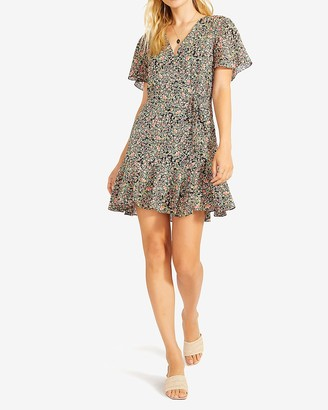 Express Bb Dakota Floral Wrap Front Mini Dress