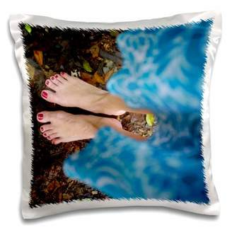 3drose 3dRose Female feet with read nails and a blue dress in the jungle - Pillow Case, 16 by 16-inch