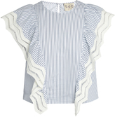 Sea Ruffled striped cotton top