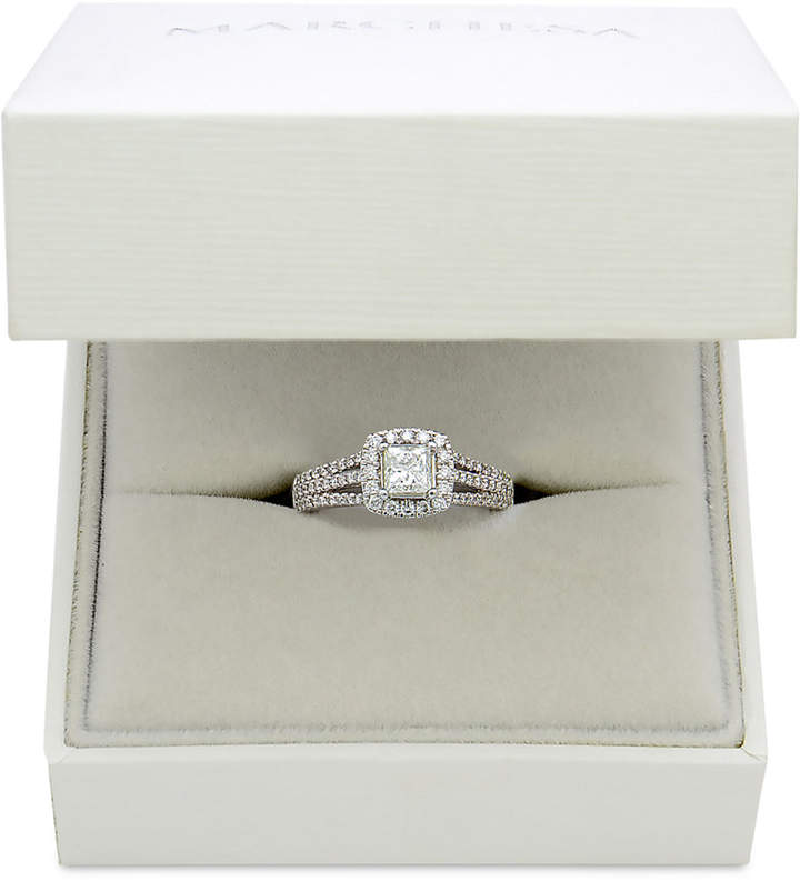 Marchesa Celeste Halo by Certified Diamond Split Shank Engagement Ring (1-1/5 ct. t.w.) in 18k White Gold, Created for Macy's