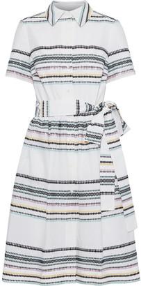 Carolina Herrera Belted Metallic Jacquard Shirt Dress