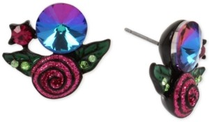 Betsey Johnson Black-Tone Crystal & Glitter Rose Stud Earrings