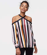 LOFT Striped Off The Shoulder Halter Blouse