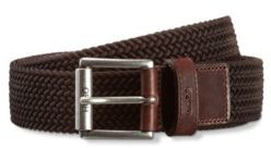 HUGO BOSS Italian-made woven belt with leather trims