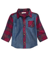 First Impressions Cotton Flannel & Denim Shirt, Baby Boys (0-24 months), Created for Macy's
