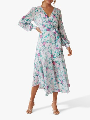 Forever New Gloria Glasshouse Floral Print Wrap Midi Dress, Multi