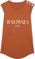 Balmain Button-embellished Printed Cotton-jersey Top - Orange