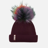 BKLYN Women's Merino Wool Hat with Rainbow Pom Pom - Maroon
