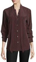 Equipment Slim Signature Heart-Print Tie-Neck Shirt