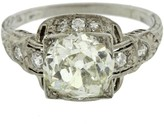 Platinum 2.67ctw Old Mine Cut Art Deco Diamond Engagement Ring