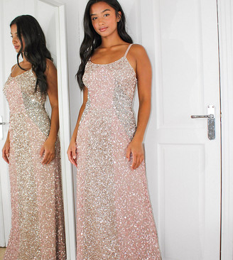 Maya Petite all over delicate sequin panelled maxi dress in pink