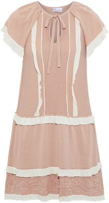 RED Valentino Ruffle-trimmed Paneled Cotton-blend Mini Dress