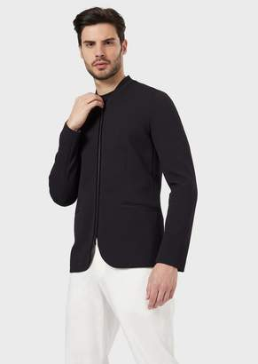 Giorgio Armani Single-Breasted Jacket In Mesh With Zip Closure And Velvet Details