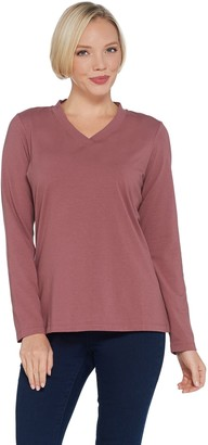 Denim & Co. Essentials Crossover V-Neck Long-Sleeve Top