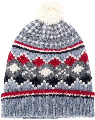 Thom Browne Jacquard-Pattern Pompom Hat