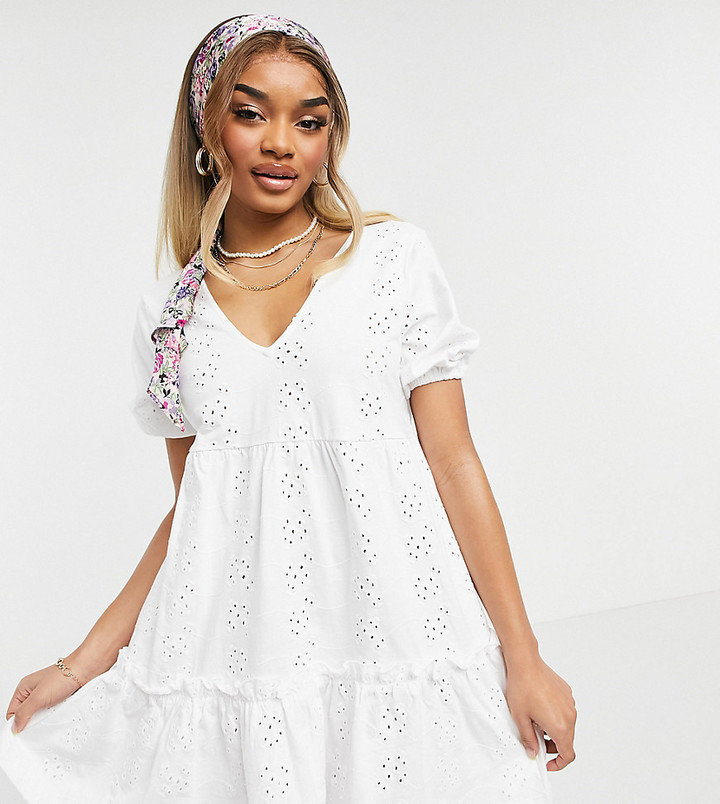 ASOS DESIGN Petite broderie v neck smock dress with puff sleeve in white