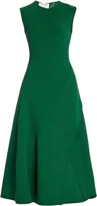 Oscar de la Renta Bias-Cut Wool-Blend Midi Dress