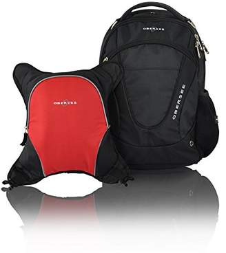Obersee Oslo Diaper Bag Backpack with Detachable Cooler (Black/Red)