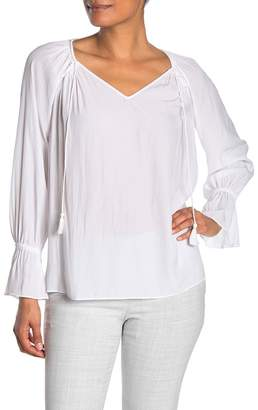 Ramy Brook Lane V-Neck Ruffle Sleeve Tassel Blouse