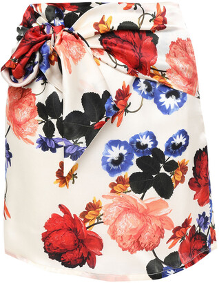 Mother of Pearl Tie-front Floral-print Silk-satin Mini Skirt