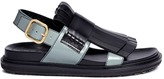 Marni 'Fussbett' colourblock kiltie fringe leather sandals