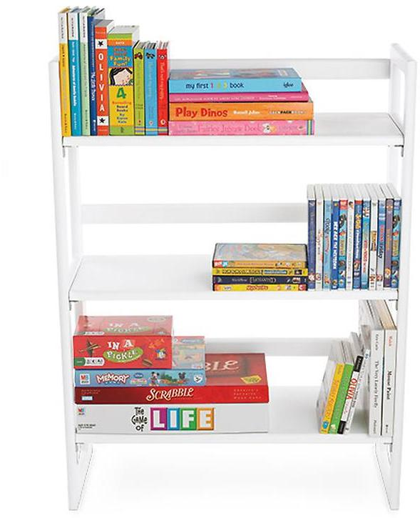 Container Store 2-Solid Oak Stackable Folding Bookshelves White