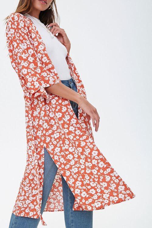 Forever 21 Floral Side-Slit Kimono