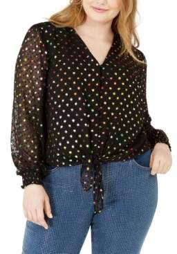 INC International Concepts Inc Plus Size Polka Dot Tie Front Top, Created For Macy's