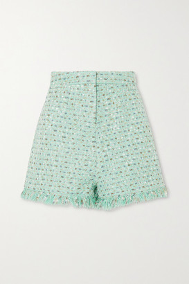 RALPH & RUSSO Frayed Metallic Tweed Shorts - Mint