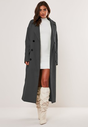 Missguided Dark Grey Oversized Double Breasted Midaxi Coat