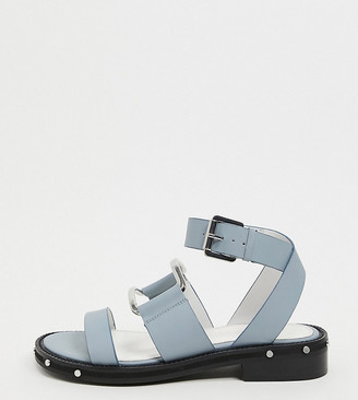 ASOS DESIGN Wide Fit Farley premium leather chunky studded flat sandals in cornflower blue