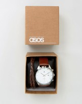 Asos Watch And Bracelet Set In Brown